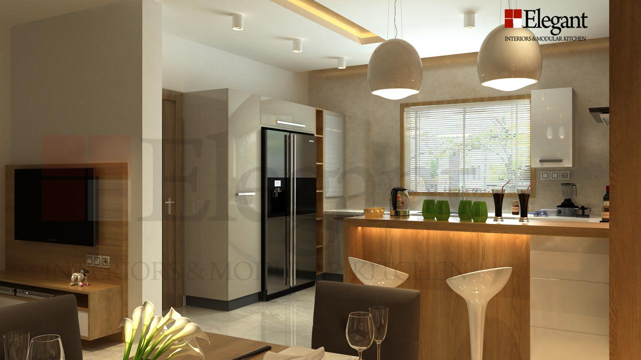 modular kitchen and living room